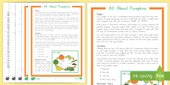 All About Pumpkins Differentiated Reading Comprehension Activity - Thanksgiving Worksheet