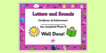 Letters and Sounds Award Certificate Phase 5 - Letters And Sounds, Phase 5, Letters Certificate, Sounds Cerificate, Phase 5 Certificate
