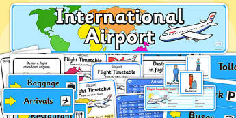 Airport Role Play Pack - Airport, role play, pack, roleplay, holidays, holiday, flight, timetable, airports, plane, jet, arrivals, departures, pilot, summer, sun, sand