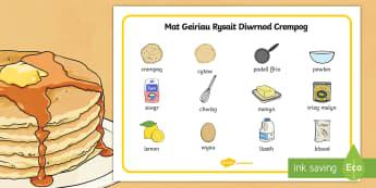 Mat Geiriau Rysáit Diwrnod Crempog - grawys, dydd mawrth ynyd, crempog, pasg, Rysáit, Diwrnod Crempog, Pancake Day,Welsh, dydd , ddydd, ddiwrnod