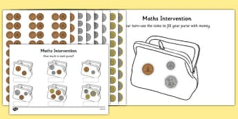 Maths Intervention Purse Coins - SEN, special needs, maths, money, counting money, recognising money, adding money, coins, notes