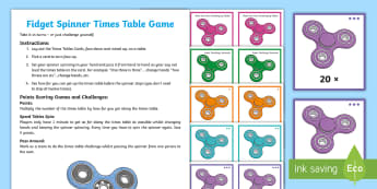 KS2 Fidget Spinner Times Tables Challenge Game - times tables, decimals, spinner, fidget, game, cards, challenge, speed tables