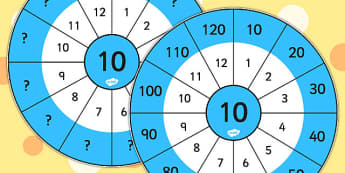 10 Times Table Wheel Cut Outs - visual aid, maths, numeracy