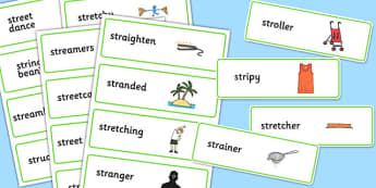 Two Syllable STR Word Cards - sen, sound, str sound, str, two syllable, word cards