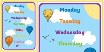 English Days of the Week A4 Display Poster