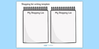 Shopping List Writing Template - Blank shopping list templates, shopping list, shopping, editable, editable template, foundation stage, Template, shopping list design, fine motor skills, activity