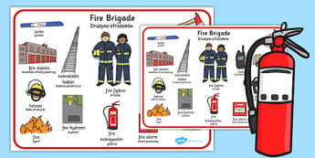 Fire Brigade Word Mat Polish Translation - polish, fire brigade, mat