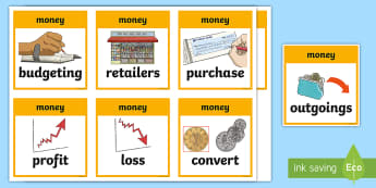 CfE Second Level Numeracy and Mathematics Money Keyword Flashcards - Wall Display, keywords, MNU 2-09a, MNU 2-09b, MNU 2-09c language of maths, vocabulary, word wall,Sco