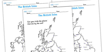 The British Isles Seaside Map Worksheet - seaside, the seaside, seaside map, british seaside, british seasides worksheet, seasides in britain worksheet