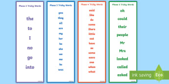 Letters and Sounds Phase 2 to 5 Tricky Words Bookmarks - australia, english, bookmarks, visual aid, letters and sounds, letters, sounds, phase three, phase 3