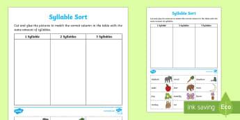 Syllable Sort Activity Sheet - EYLF, Literacy, phonological awareness, syllables, sorting,Australia, Worksheet