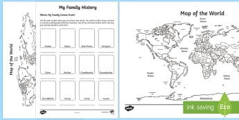 Where My Family Are From Activity Sheet - Australian History, Worksheet, Australian Families,ACHASSK011, Family History, Family Structures,,Au
