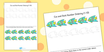 Under the Sea Themed Cut and Stick Number Ordering Activity 1-10