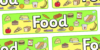 Food Display Banner - food, banner, display, sign, poster, meals, eating, snack, bread, fruit, vegetable