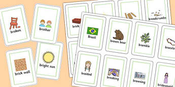 Two Syllable BR Playing Cards - br, playing mats, syllable, sound, sen