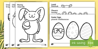 Easter Colouring Images English/Polish - Easter Coloring Sheets - Easter, coloring poster, colouring, fine motor skills, activity, Easter, bi