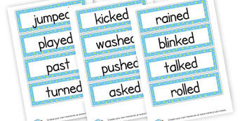 Past Tense Verbs Cards - Verb Primary Resources, verbs, noun, adjective, wow, keywords