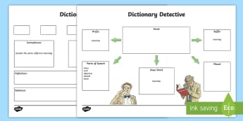 Dictionary Detective Activity Sheet - Literacy, dictionary, word, language, part of speech, prefix, suffix, worksheet, homophone, synonym,