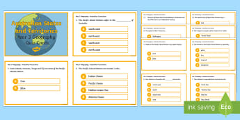 Year 3 AC Geography Australia's Neighbours Quiz Cards  - ACHASSK067, prior knowledge, formative assessment, diagnostic, ,Australia