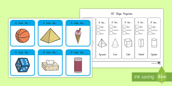 3D Shape Properties Interactive Visual Aid - New Zealand Maths , doubles, 3D, shape, vertices, edges, properties, number of