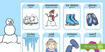 Parole e Immagini Invernali Flashcards - Parole, Inevrnali, vocabolario, Illustrato, Inverno, antale, uomo, di, neve, inglese, italiano, ital