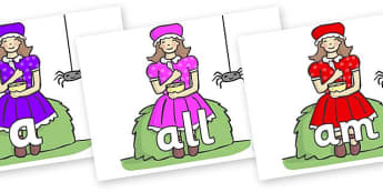 Foundation Stage 2 Keywords on Little Miss Muffet - FS2, CLL, keywords, Communication language and literacy,  Display, Key words, high frequency words, foundation stage literacy, DfES Letters and Sounds, Letters and Sounds, spelling