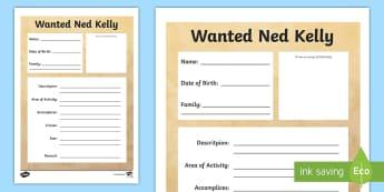 Ned Kelly Wanted Poster Writing Frames - Bushrangers, ned kelly, wanted posters, ned kelly wanted poster, australia, australian history, Ned