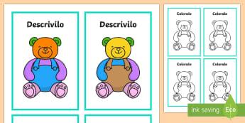 Descrivi e Colora Gioco degli Orsacchiotti Attività - descrivi, e, colora, gioco, orsacchiotti, colori, disegno, italiano, italian, materiale, scolastico