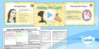 PlanIt - DT LKS2 - Battery Operated Lights Unit Lesson 5: Making the Light Lesson Pack - switches, series circuits, electrical systems, bulbs