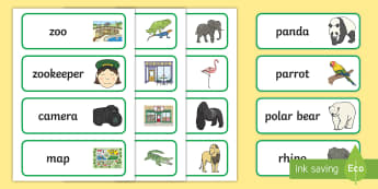 At the Zoo Word Cards - EYFS, Early Years, The Zoo, animals, words, writing, reading, writing area.