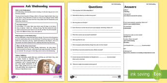 Ash Wednesday Differentiated Reading Comprehension Activity - Ash Wednesday, Lent, Easter, religious festival, celebration, liturgy, priest, Eucharist minister, d
