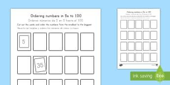 Ordering Numbers in 5s to 100 US English/Spanish (Latin) - Priority Number Ordering Sheets, 5, multiple, 5x, 5 times, 5s, count, cut and stick, paste.