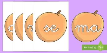Tarjetas de sílabas: Melocotones - lecto, leer, primeros sonidos