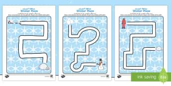 Winter Pencil Control Path Activity Sheets Arabic/English - Winter Pencil Control Path Activity Sheets - winter, pencil control, pencil control worksheets, fine