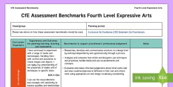 Fourth Level Expressive Arts Assessment Benchmarks Assessment Tracker - CfE Benchmarks, tracking, assessing, progression, art, design, drama, music,Scottish