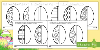 Easter Egg Symmetry Activity Sheets - English/Mandarin Chinese - Easter Egg Symmetry Worksheets - symmetry, sheets, symmetry sheets, Worksheets, easter egg, sysmmetr