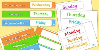 Banderoles d'affichage : Les jours de la semaine - Anglais LV
