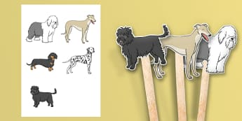 Dog Themed Stick Puppets - Dame Lynley Dodd, hairy maclary, dog, stick puppets