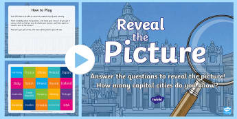 Capital Cities Reveal the Picture PowerPoint Activity - ICT, interactive, computer, PPT, quiz, questions, countries, place, capital city,Scottish