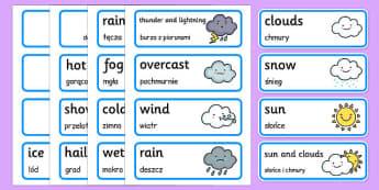 Weather Word Cards Polish Translation - polish, weather, word cards, word, cards