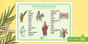 Easter Story Word Mat Polish Translation - polish, Easter, word mat, writing aid, Easter teaching resource, Easter Jesus, Easter Sunday, Easter, bible, egg, Jesus, cross, Easter Sunday, bunny, chocolate