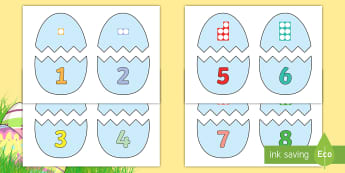 Easter Egg Number Shapes to 10 Matching Game - EYFS, Early Years, KS1, Easter, Easter eggs, Maths, Numeracy, number shapes, Numicon, number recogni