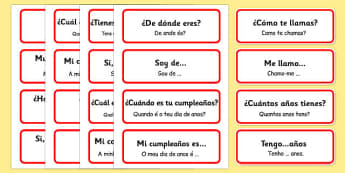 Spanish Basic Phrases Word Cards Portuguese Translation - portuguese, basic phrases, word cards, word, cards, basic, phrase