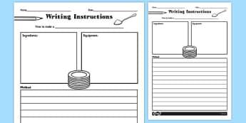 Writing Instructions Recipe - writing, instructions, recipe