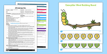 Caterpillar Name Building EYFS Adult Input Plan and Resource Pack - EYFS, Early Years planning, adult led, phonics, letter sounds, name writing, minibeasts, Literacy