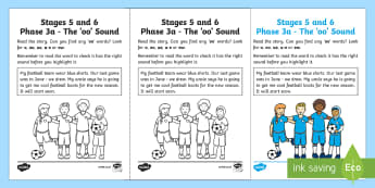Linguistic Phonics Stage 5 and 6 Phase 3a, 'oo' Sound Activity Sheet - Linguistic Phonics, Phase 3a, Northern Ireland, 'oo' sound, sound search, text,Worksheet