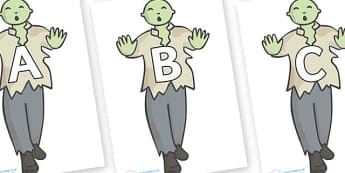 A-Z Alphabet on Zombies - A-Z, A4, display, Alphabet frieze, Display letters, Letter posters, A-Z letters, Alphabet flashcards
