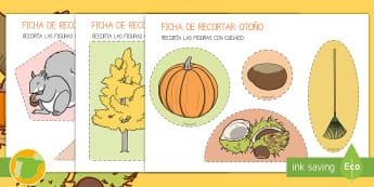 Ficha de motricidad fina: Recorta - Otoño - tijeras, cortar, punzón, punzar, estaciones, estación, ,Spanish