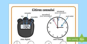 Citirea ceasului Planșă - unitati de masura, timp, citirea ceasului, ceasul, matematică, planșe,Romanian