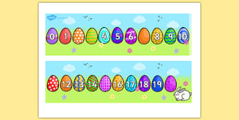 Missing Number Number Line 0-20 (Easter) - numbers, numerline, number line, missing number, easter missing numbers, easter counting activities, easter counting, missing numbers, counting, counting on, counting back, maths, numeracy
